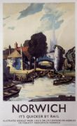Norwich, Norfolk. Vintage English LNER Travel Poster by Rowland Hilder. 1940